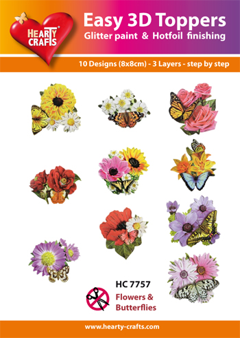 Hearty Crafts Easy 3D Toppers 3D-paketti perhoset ja kukat