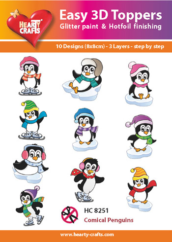 Hearty Crafts Easy 3D Toppers 3D-paketti pingviinit