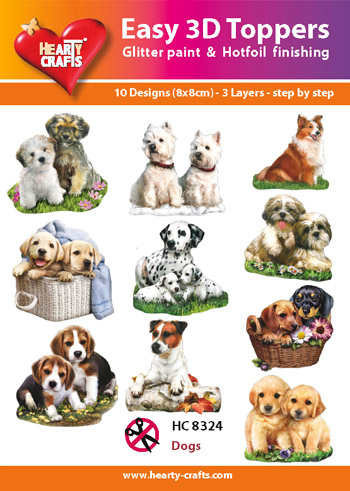 Hearty Crafts Easy 3D Toppers 3D-paketti koirat