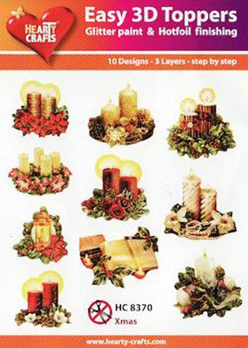 Hearty Crafts Easy 3D Toppers 3D-paketti joulukynttilät
