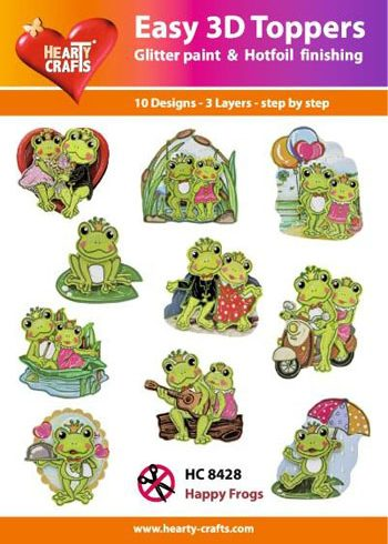 Hearty Crafts Easy 3D Toppers 3D-paketti sammakot
