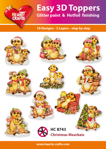 Hearty Crafts Easy 3D Toppers 3D-paketti mangusti joulu