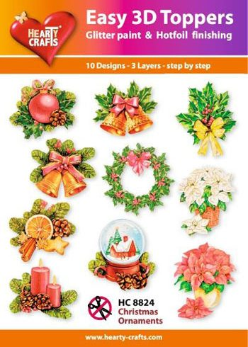 Hearty Crafts Easy 3D Toppers 3D-paketti jouluaihe