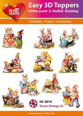 Hearty Crafts Easy 3D Toppers 3D-paketti pääsiäinen