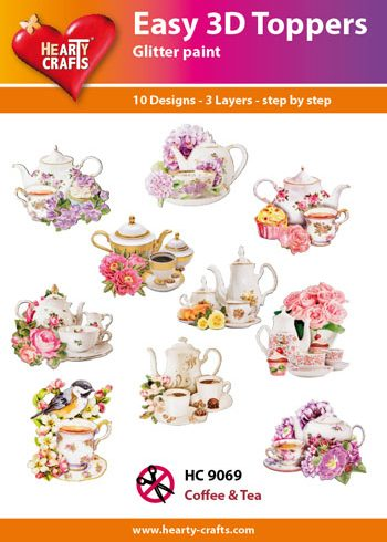 Hearty Crafts Easy 3D Toppers 3D-paketti kahvi ja tee