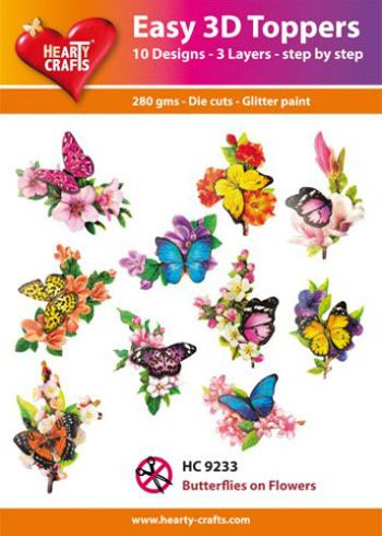 Hearty Crafts Easy 3D Toppers 3D-paketti perhoset