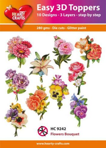 Hearty Crafts Easy 3D Toppers 3D-paketti kukkakimput