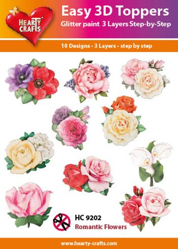Hearty Crafts Easy 3D Toppers 3D-paketti ruusut