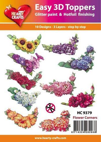 Hearty Crafts Easy 3D Toppers 3D-paketti kukkakulmat