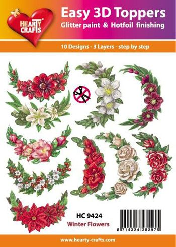 Hearty Crafts Easy 3D Toppers 3D-paketti kukkakaaret