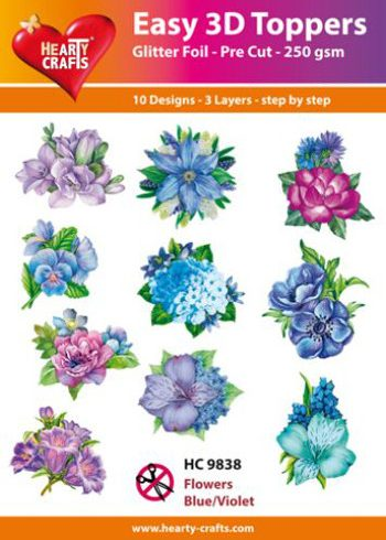 Hearty Crafts Easy 3D Toppers 3D-paketti siniset kukat