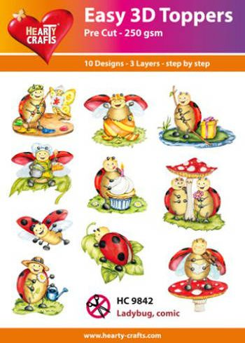 Hearty Crafts Easy 3D Toppers 3D-paketti leppäkertut