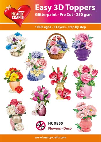 Hearty Crafts Easy 3D Toppers 3D-paketti kukka-asetelmat