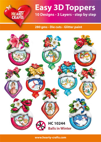 Hearty Crafts Easy 3D Toppers 3D-paketti joulupallot