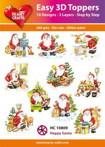 Hearty Crafts Easy 3D Toppers3D-paketti joulupukki
