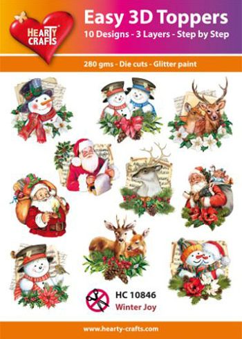Hearty Crafts Easy 3D Toppers 3D-paketti jouluhahmot